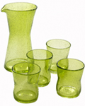 Glasskaraffel og 4 glass, farge lime -